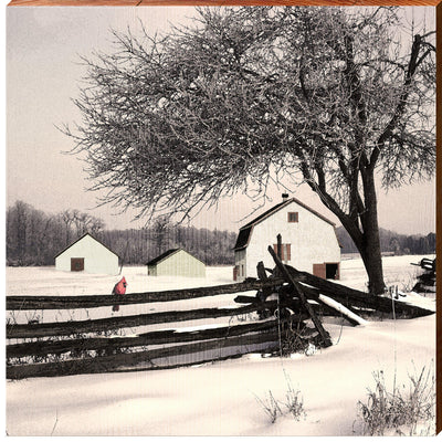 Snowy Country White Barn Square Piece-Mill Wood Art