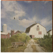 Old White Barn Square Piece-Mill Wood Art