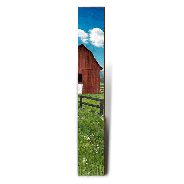 "Red Barn, White Clouds, Blue Skies Large Piece | Size: 9.5"" x 60""-Mill Wood Art"