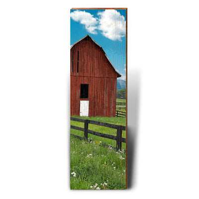 Red Barn, White Clouds, Blue Skies Piece-Mill Wood Art