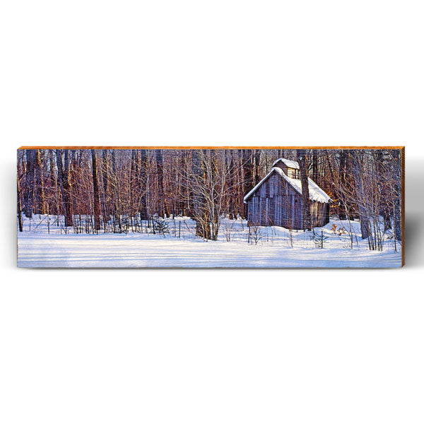 Snowy Woods Barn Piece-Mill Wood Art