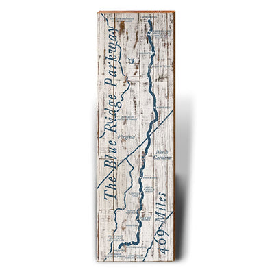 Blue Ridge Parkway Blue and White Rustic Piece-Mill Wood Art