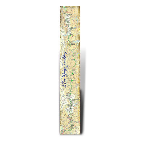 "Blue Ridge Parway Large Map | Size: 9.5"" x 60"" Wall Art-Mill Wood Art"