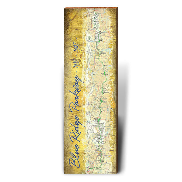 Blue Ridge Parkway Map Wall Art-Mill Wood Art