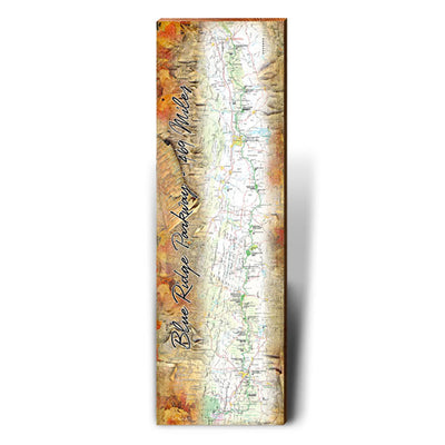 Blue Ridge Parkway Fall Foliage Map Wall Art-Mill Wood Art
