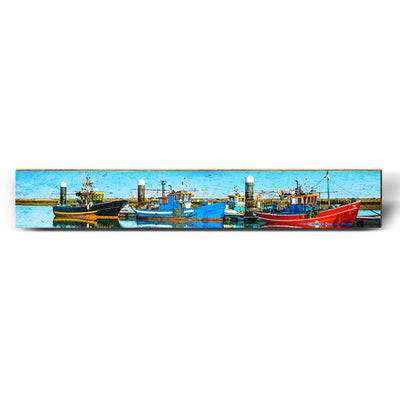 "Shrimp Boats at the Dock - Large | Size: 9.5"" x 60""-Mill Wood Art"