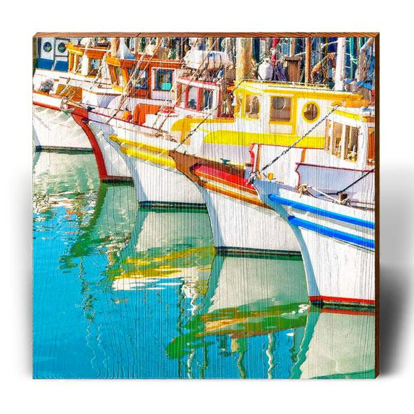 Colorful Boat Brigade-Mill Wood Art