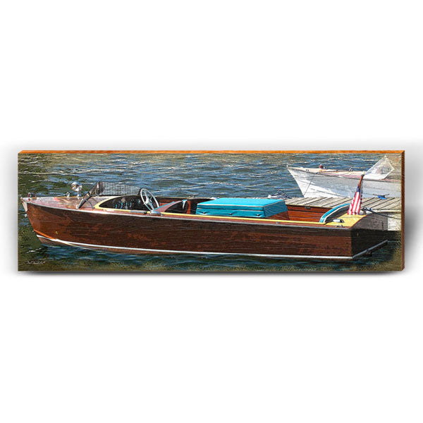 Vintage Boat on Dock-Mill Wood Art