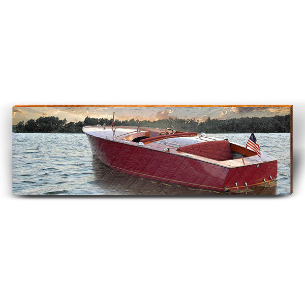 Vintage Boat Sunset Piece-Mill Wood Art