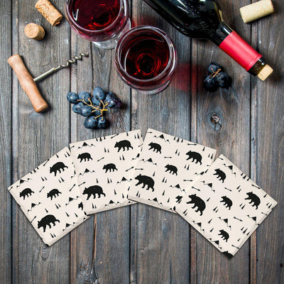 Bears & Mountains Pattern |Drink Coaster Set
