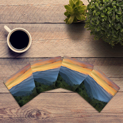 Blue Ridge Mountains Sunset |Drink Coaster Set