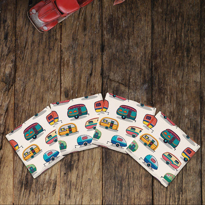 Colorful Campers |Drink Coaster Set