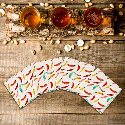 Chili Pepper Pattern |Drink Coaster Set