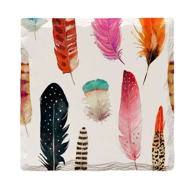 Colorful Feathers |Drink Coaster Set