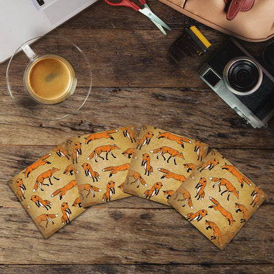 Foxes Pattern |Drink Coaster Set