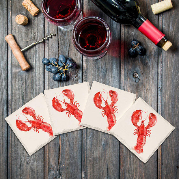 Big Red Lobster |Drink Coaster Set