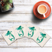 Watercolor Teal Mermaid |Drink Coaster Set