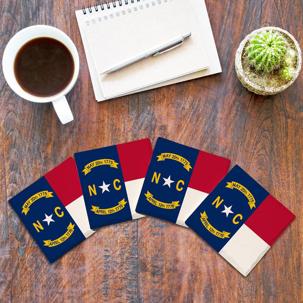 North Carolina State Flag |Drink Coaster Set