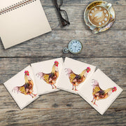 Watercolor Rooster | Drink Coaster Set