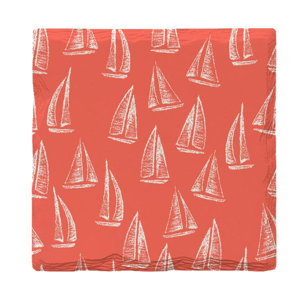 Coral Sailboat Pattern | Drink Coaster Set