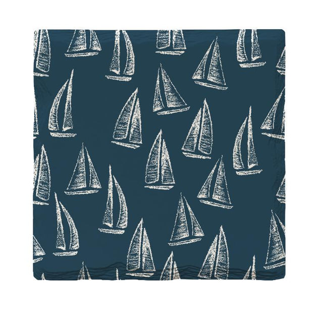 Navy Sailboat Pattern | Drink Coaster Set