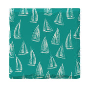 Teal Sailboat Pattern | Drink Coaster Set