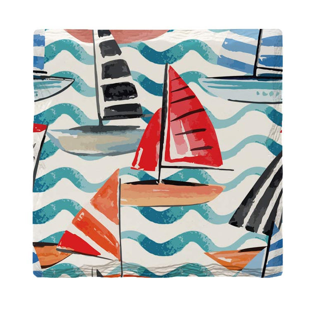 Watercolor Sailboats | Drink Coaster Set
