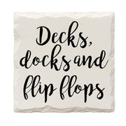 Decks, Docks and Flip Flops Drink Coaster Set