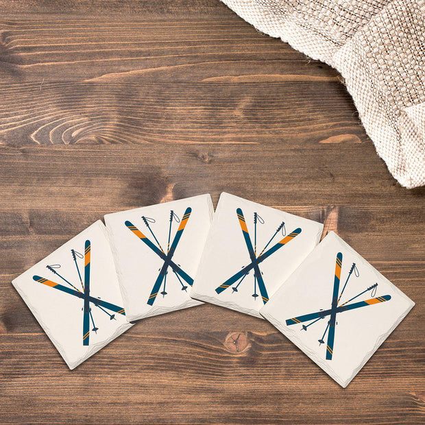 Crossed Skis | Drink Coaster Set
