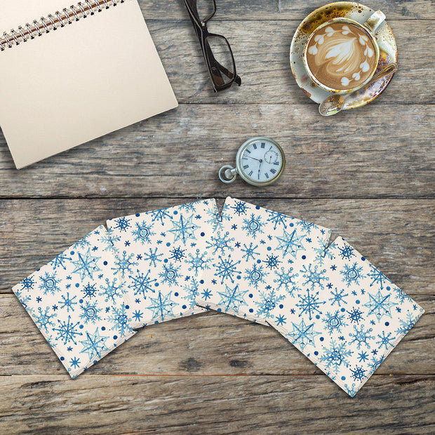 Blue Snowflakes | Drink Coaster Set