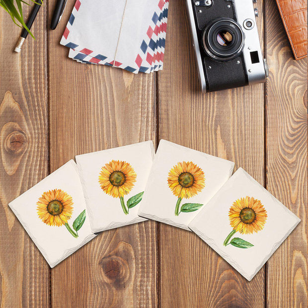 Single Sunflower | Drink Coaster Set