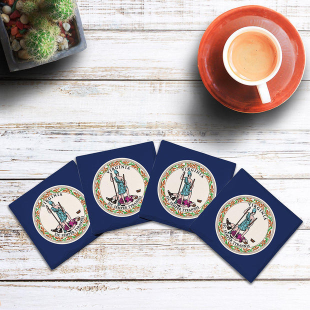 Virginia State Flag | Drink Coaster Set