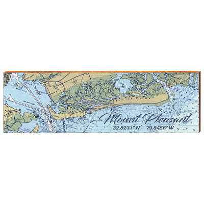 Mount Pleasant, South Carolina Navigational Styled Chart Wall Art-Mill Wood Art