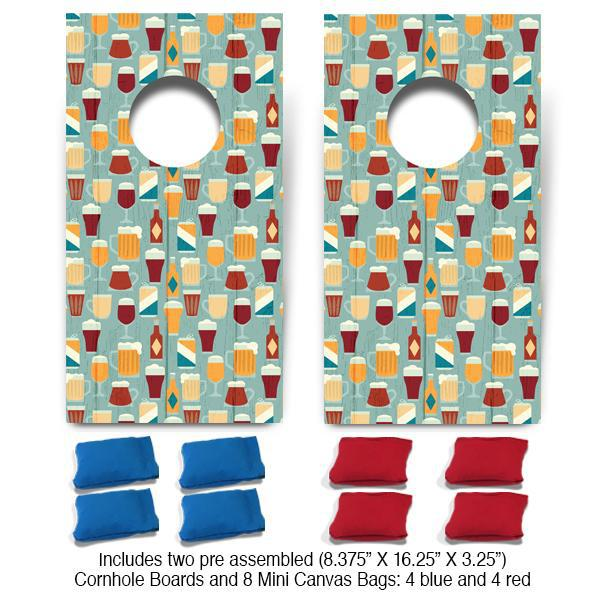 Beer Pattern Fun Size Cornhole Set