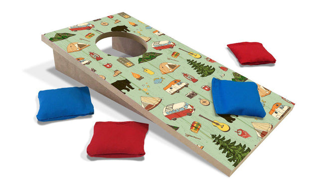 Camping Pattern Fun Size Cornhole Set