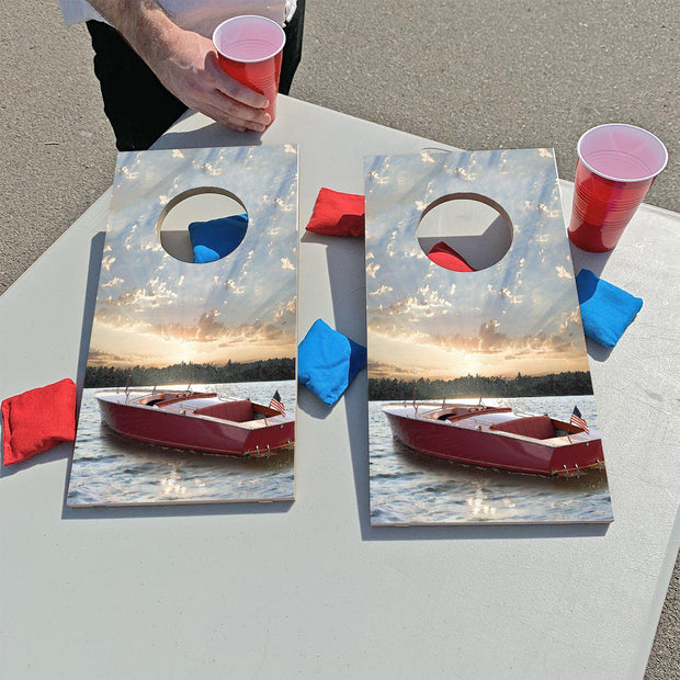 Vintage Lake Boat Sunset | Fun Size Mini Cornhole Game