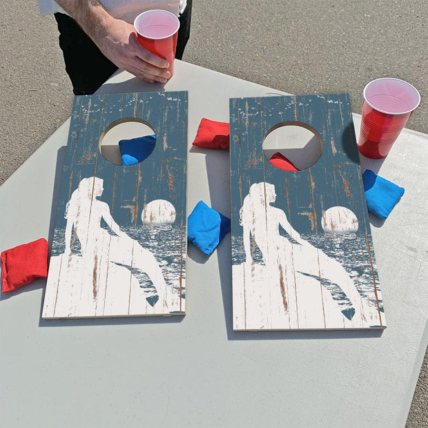 Shabby Blue Mermaid | Fun Size Mini Cornhole Game