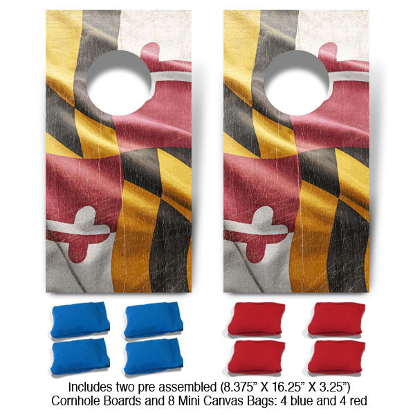Maryland Flag Fun Size Cornhole Set-Mill Wood Art