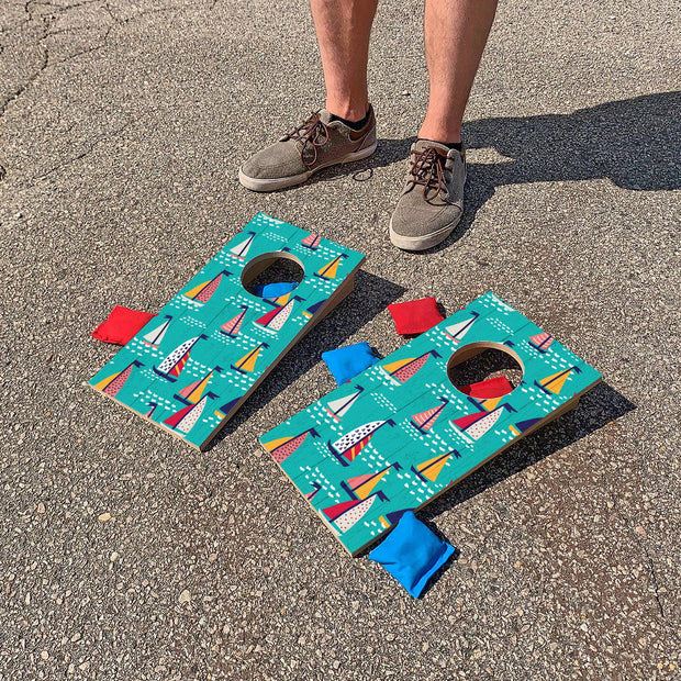 Teal Sailboats Fun Size Cornhole Set
