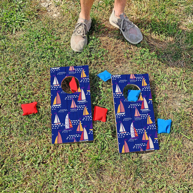Navy Sailboat Pattern | Fun Size Mini Cornhole Game