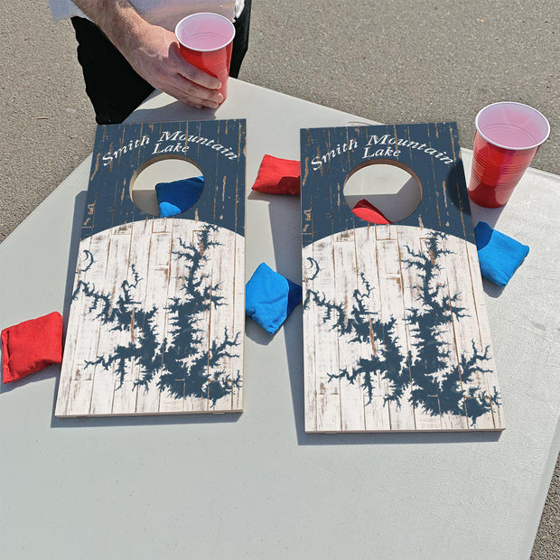 Smith Mountain Lake, Virginia Shabby Blue Map | Fun Size Mini Cornhole Game
