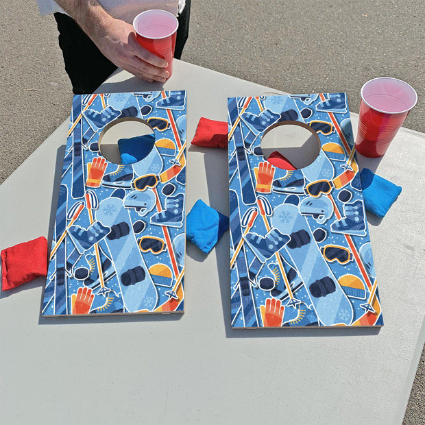 Skiing & Snowboarding Pattern | Fun Size Mini Cornhole Game