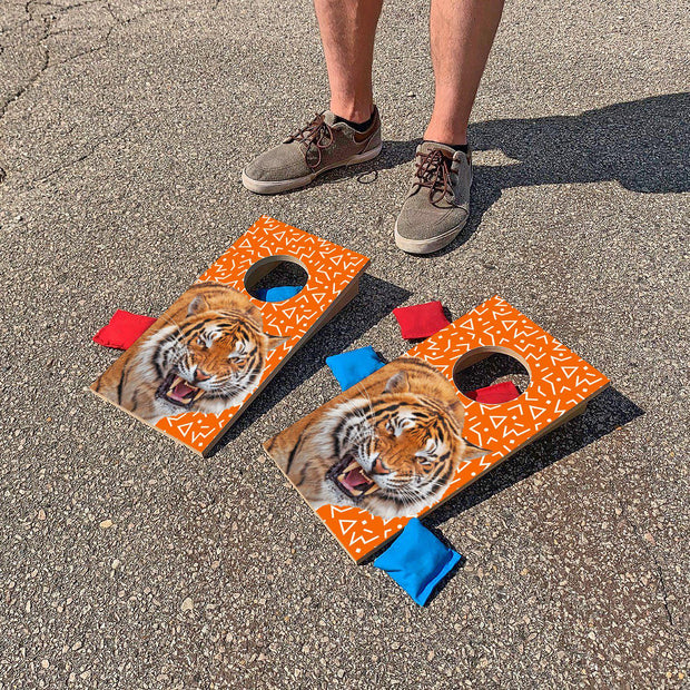 Orange Tiger Fun Size Cornhole Set