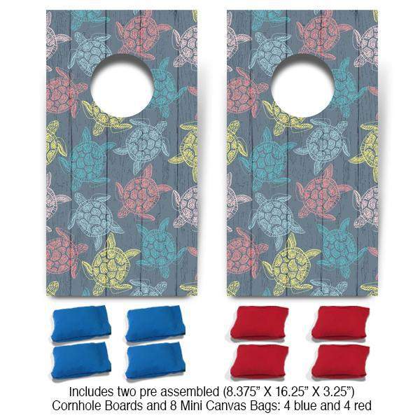 Sea Turtle Pattern Fun Size Cornhole Set