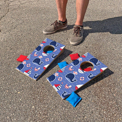 Whales & Sailboats | Fun Size Mini Cornhole Game