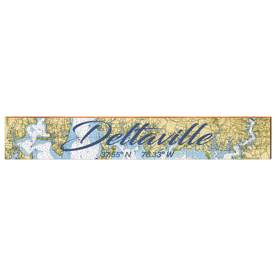 "Deltaville, Virginia Navigational Styled Chart Large | Size: 9.5"" x 60"" Wall Art-Mill Wood Art"