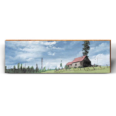 Country Mountain Cabin Landscape Piece-Mill Wood Art