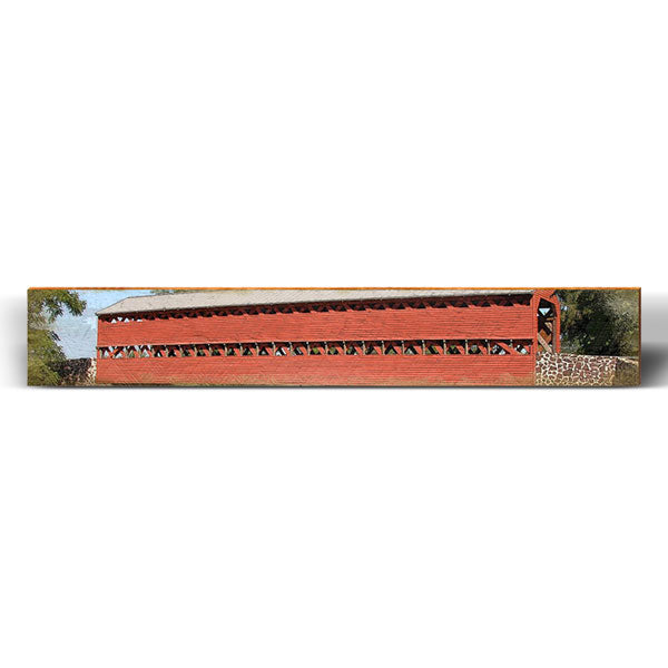 "Timber-truss Red Covered Bridge Large Piece | Size: 9.5"" x 60""-Mill Wood Art"