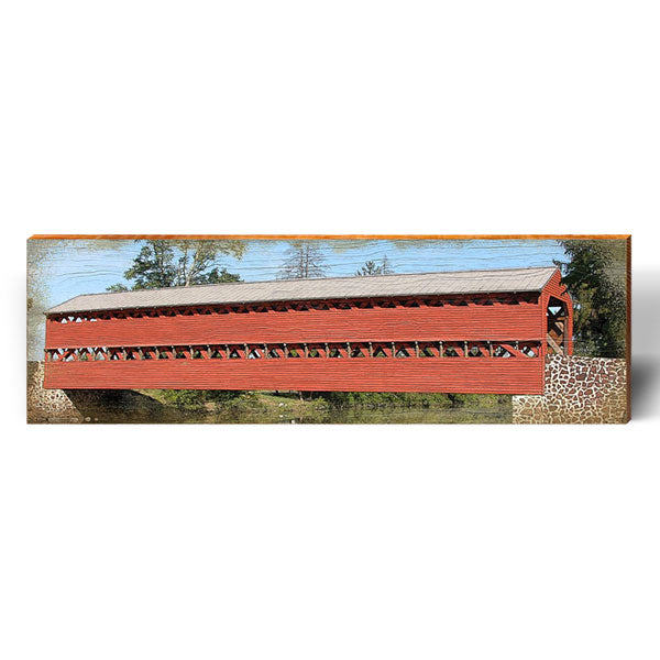 Timber-truss Red Covered Bridge-Mill Wood Art