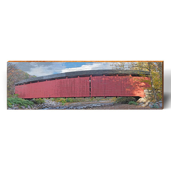 Red Kissing Bridge-Mill Wood Art